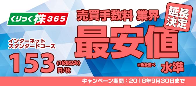 【くりっく株365】手数料を153円(税込)に引き下げキャンペーン!