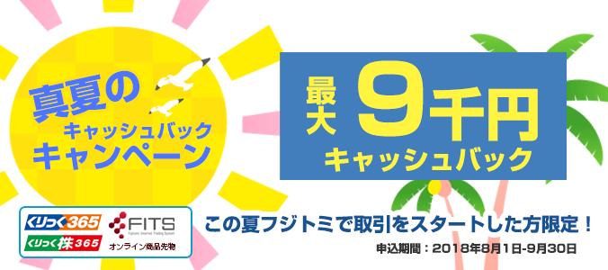 真夏のキャッシュバックキャンペーン(最大9,000円)