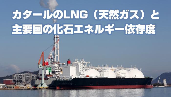 カタールのLNG(天然ガス)と主要国の化石エネルギー依存度