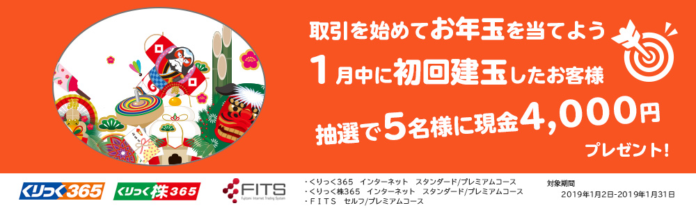 新規口座開設!抽選で5名様に現金4000円プレゼント!