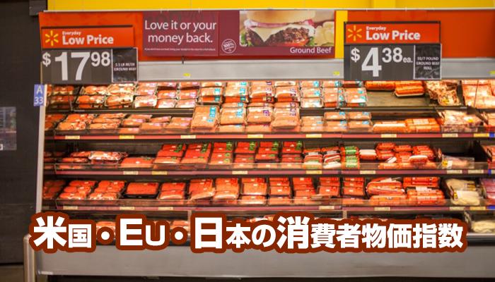 米国・EU・日本の消費者物価指数